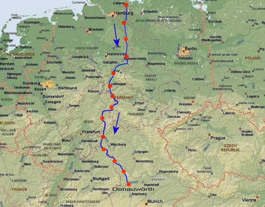 310a30014ba2 Karta visande cykelturen i Tyskland 2006
