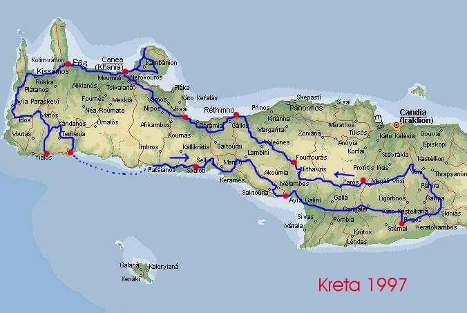 karta över kreta Cykelturer   Cykelsemester karta över kreta