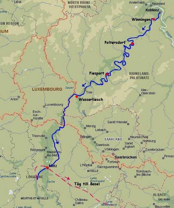 karta koblenz Cykling i Moseldalen Koblenz   Metz 2004 karta koblenz
